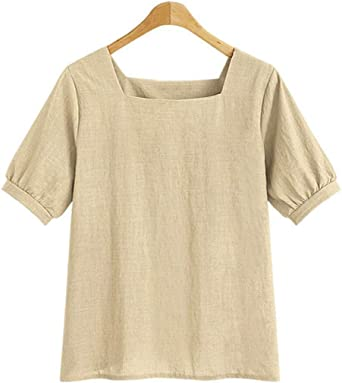 Womens Loose Breathable Cotton Linen T Shirts Square Neck Short Sleeve Tees Summer Blouse Tops Pocciol