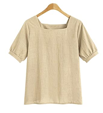 3d7836d74b Mlide Womens Loose Breathable Cotton Linen T Shirts Square Neck Short  Sleeve Tees Summer Blouse Tops