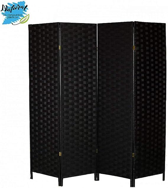 Hogar y Mas Biombo Separador de Ambientes Negro de Bambú Natural para Dormitorio/Salón 180x135 cm - 4 Paneles: Amazon.es: Hogar