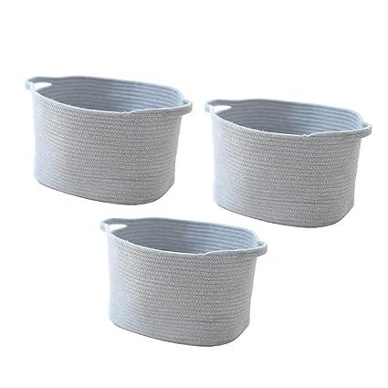 FLAMEER - Cestas de Almacenamiento de Cuerda de algodón con Asas para Guardar Juguetes, 3