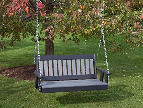 (5FT-DARK GRAY-POLY LUMBER Mission Porch Swing Heavy Duty EVERLASTING PolyTuf HDPE - MADE IN USA - AMISH CRAFTED)