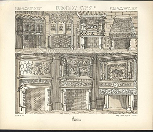 Europe Fireplaces Hearth Decorated Ornate c.1880 antique tinted lithograph print
