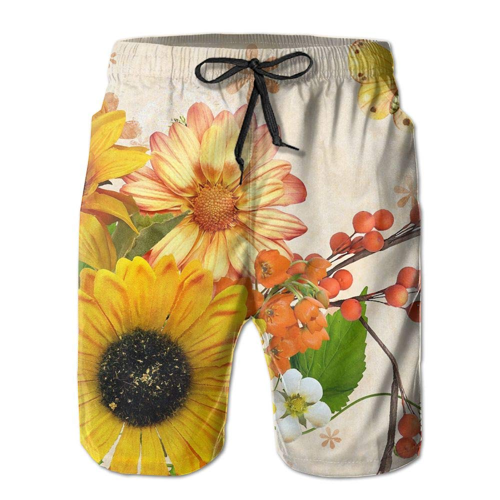 1b6c4d7a5c7 White Quick Quick Quick Dry Men's Beach Board Shorts Sunflower ...