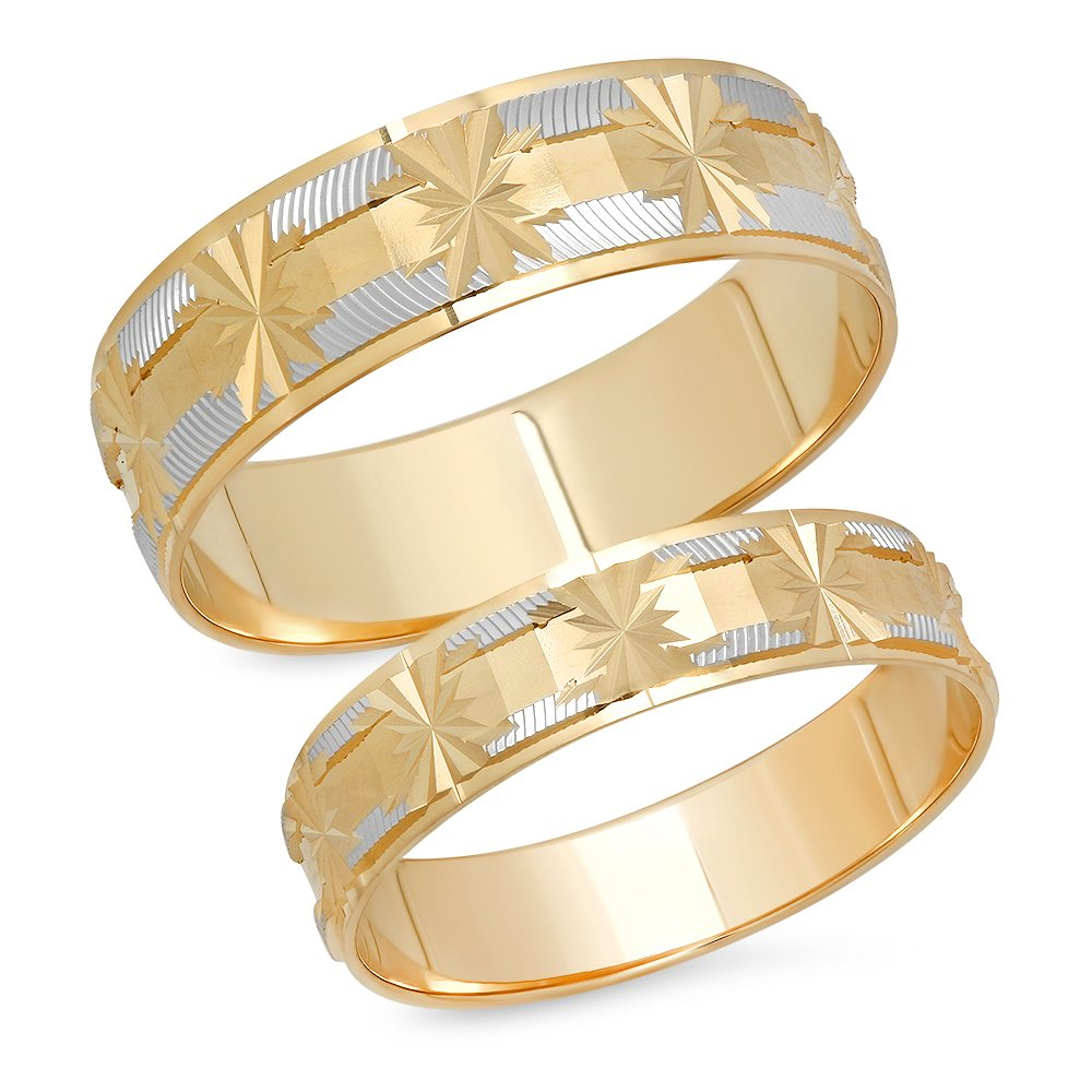 14K Solid White and Yellow Two Tone Gold His & Her's Matching Snowflake Design Wedding Band Ring Set (Choose a Size)
