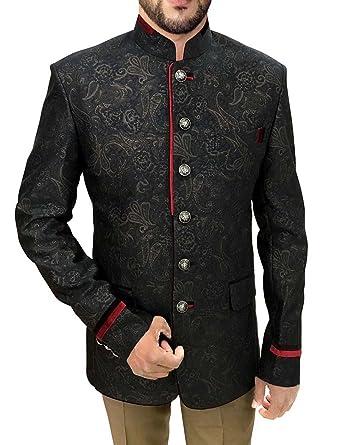112be54a2b INMONARCH Mens Black 2 Pc Jodhpuri Suit Red Trimming JO443S34 34 Short Black