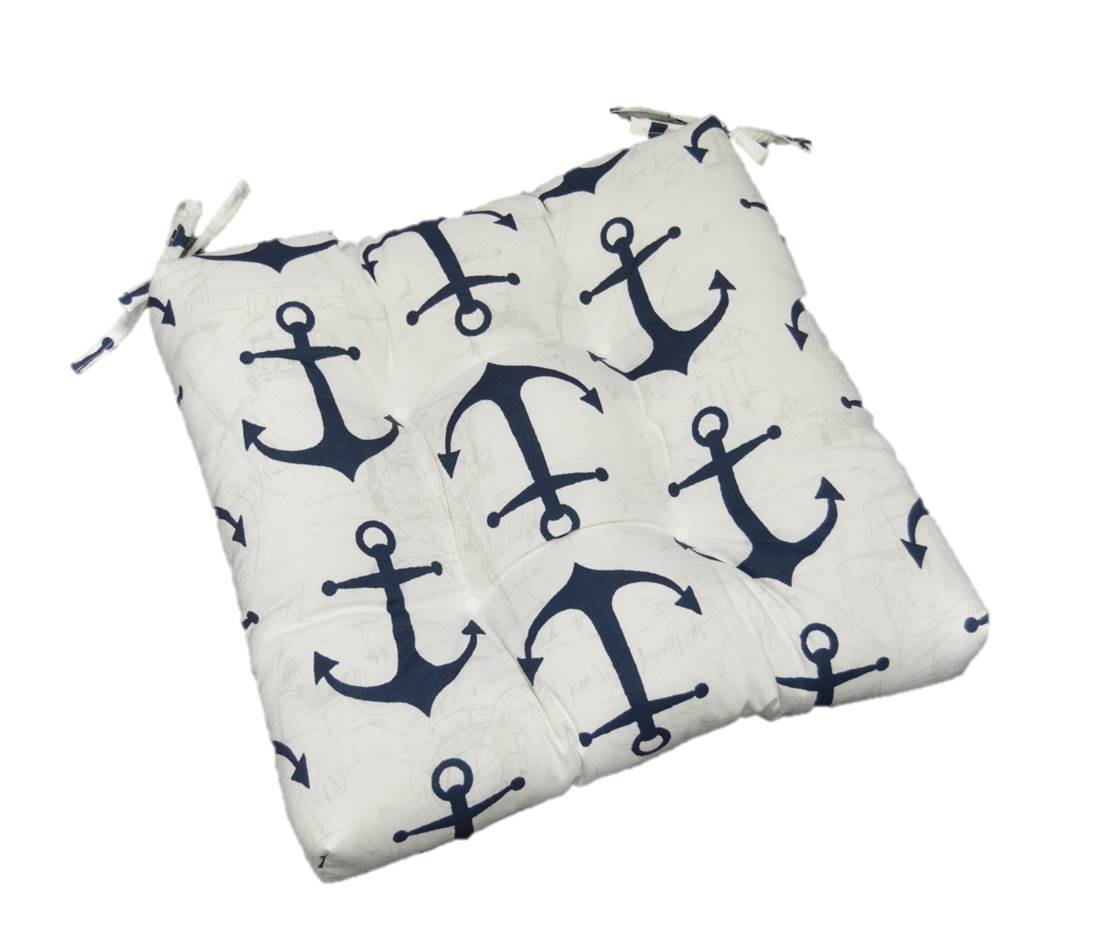 Indoor / Outdoor Navy Blue & White Nautical Anchor Print Universal Tufted Seat Cushion with Ties for Dining Patio Chair - Choose Size (20'' x 18'')