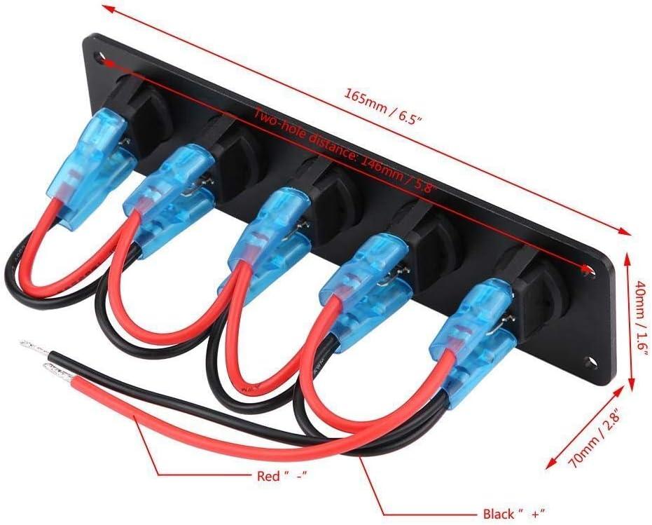 Broco 12-24 5 Gang Round Dash bascule interrupteur /à bascule panneau LED bleu for RV Boat Yacht Marine