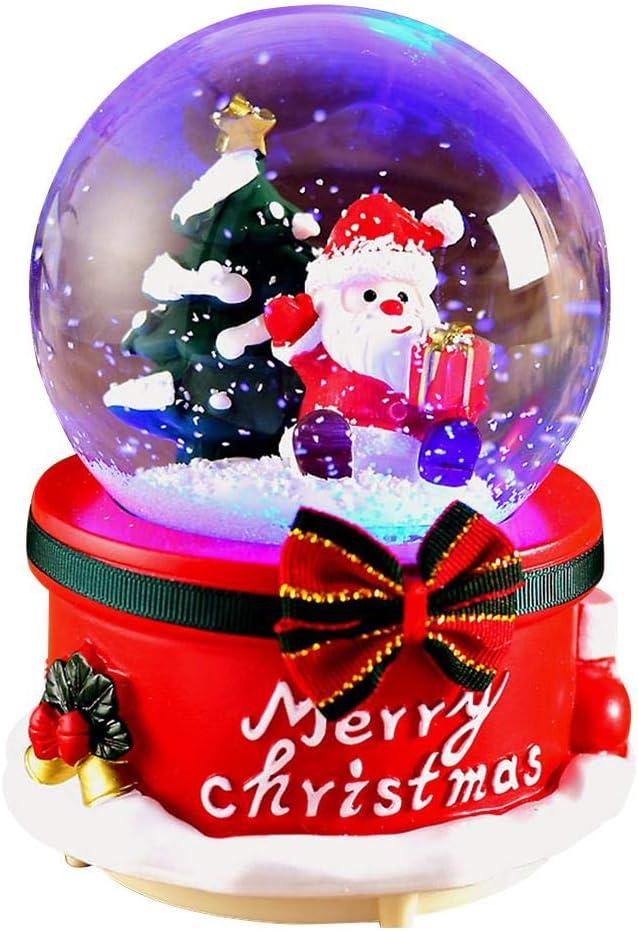 Christmas Snow Globes Santa Musical Box with Dancing Snowflakes,Handmade Santa Claus Water Crystal Ball Crafts for Christmas New Year,Thanksgiving,Birthday Gift