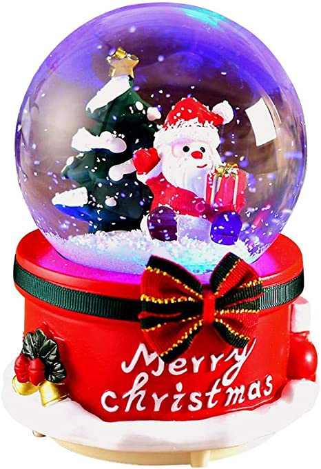 Amazon Com Snow Globes Musical With Dancing Snowflakes Santa Claus Light Battery Operated Water Ball Crafts Christmas New Year S Gift Decoration Home Kitchen