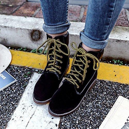 Scarpe Da Donna Carolbar Comfort Caldo Inverno Caldo Stivali Tacco Basso Nero