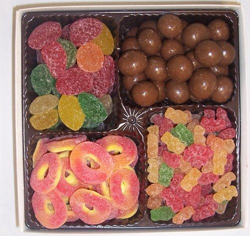 Scott's Cakes Large 4-Pack Pectin Fruit Gels, Peach Rings, Chocolate Malt Balls, & Sour Gummie Bears by Scott's Cakes