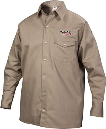 Blue//Tan Welding Jacket Flame Resistant Cotton Body XL