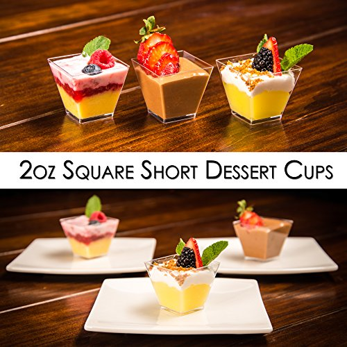 DLux 100 x 2 oz Mini Dessert Cups with Spoons, Square Short - Clear Plastic Parfait Appetizer Cup - Small Disposable Reusable Serving Bowl for Tasting Party Desserts Appetizers - With Recipe Ebook by DLux (Image #6)