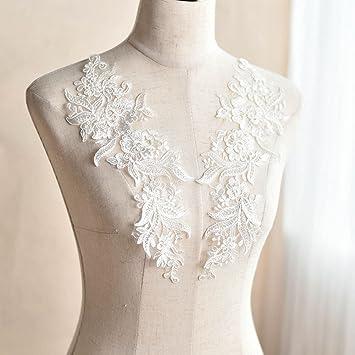 """12 x 10 """"marfil con bordado encaje Floral decoración de novia boda vestido de"""