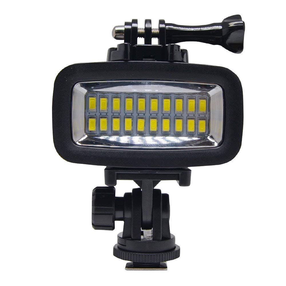 Venidice 40m/130ft Rechargeable Diving Light Dimmable Waterproof Video LED Light 6W 20 LEDs 700LM with 1900mAh for Gopro HTC XIAOYI SJ5000 SJ6000 & Other Action Camera &DSLR Camera