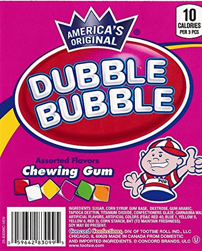 Dubble Bubble 6 Flavor Chiclets Chewing Gum Tabs 1 Pound Bulk + Mystery Stickers & Mystery Bouncy Ball 27mm