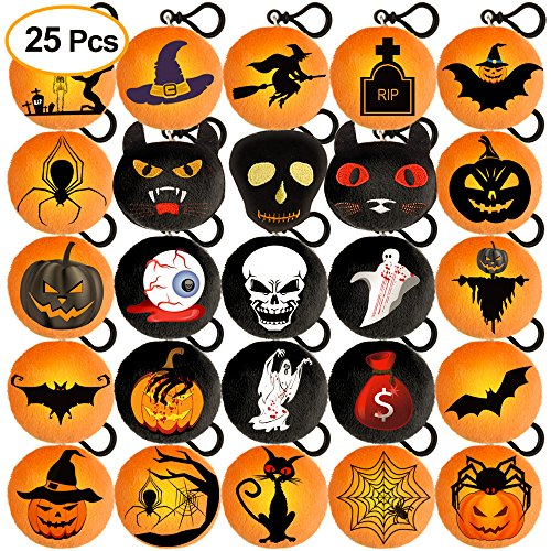 Kuuqa 25Pcs Halloween Plush Pillow Keychain With Spooky Pumpkin Patch Cat for Halloween Party Home Decoration Supplies 2.4