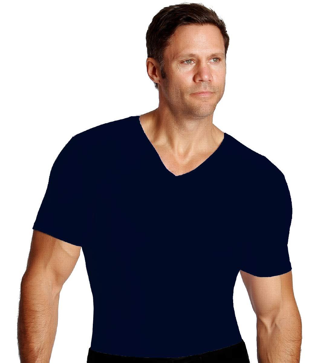Insta Slim Men's Compression Short Sleeve V Neck Shirt - Slimming Body Shaper Undershirt