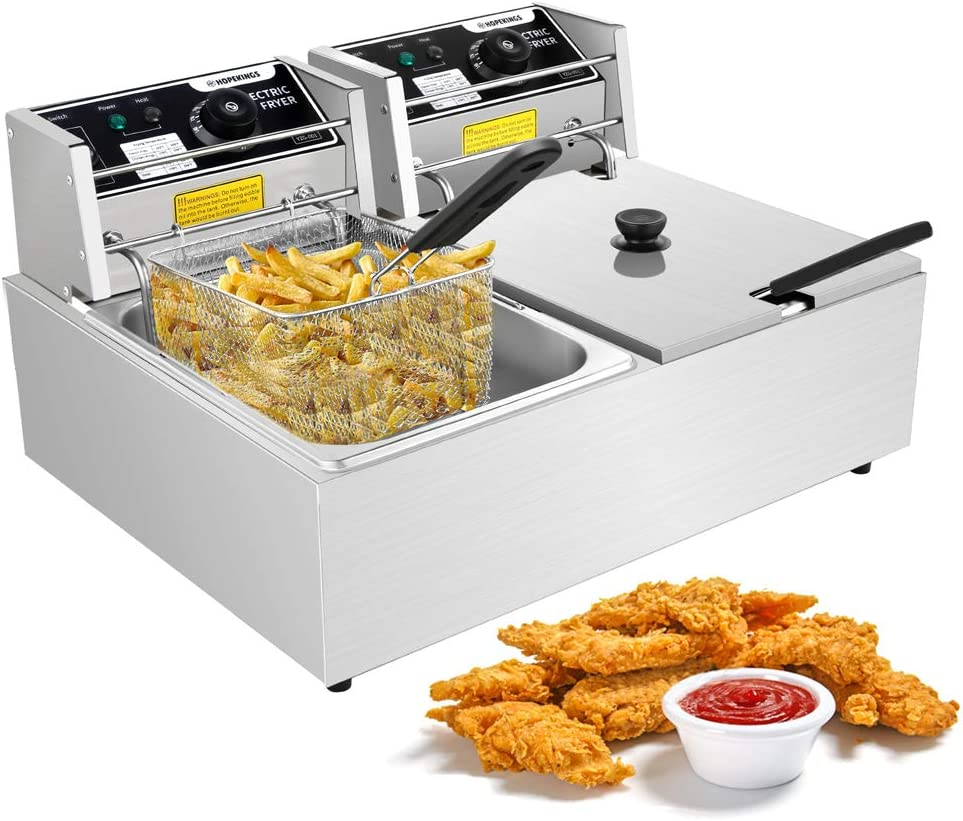 Wesoky Upgrade Commercial Electric Fryer, 2x6L Stainless Steel Double Tank Deep Fryer Medium-Duty Electric Countertop Fryers, Total Capacity 12.7QT/12L for Restaurant (Double Tank(12L))