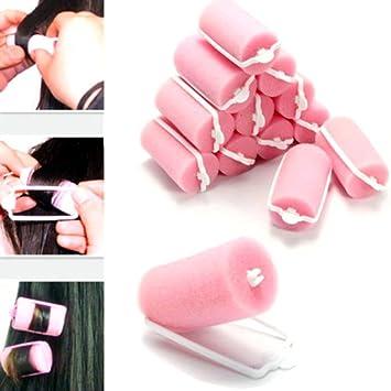 Hunpta rizador de pelo, 12 unidades de rodillos de espuma mágica para el pelo con diseño de esponja: Amazon.es: Belleza