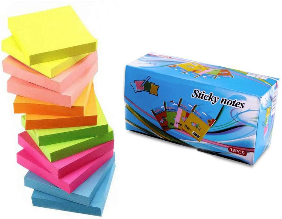 Sticky Notes 3x3 Inches,12 Pads/Pack 100 Sheets/Pad Sticky Notes,6 Bright Colors Self-Stick Pads Box Packing by Morwealth