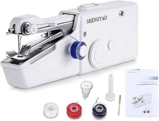 SHENGYAO - Mini máquina de Coser portátil a Mano AA Funciona con ...