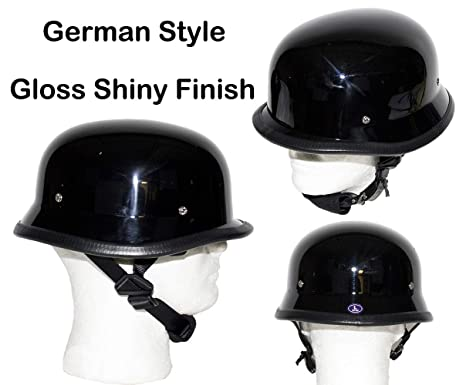 51e9f225848 DMD Trading Motorcycle Low Profile Skull Cap Gloss Shiny Black German  Novelty Helmet W Adjustable
