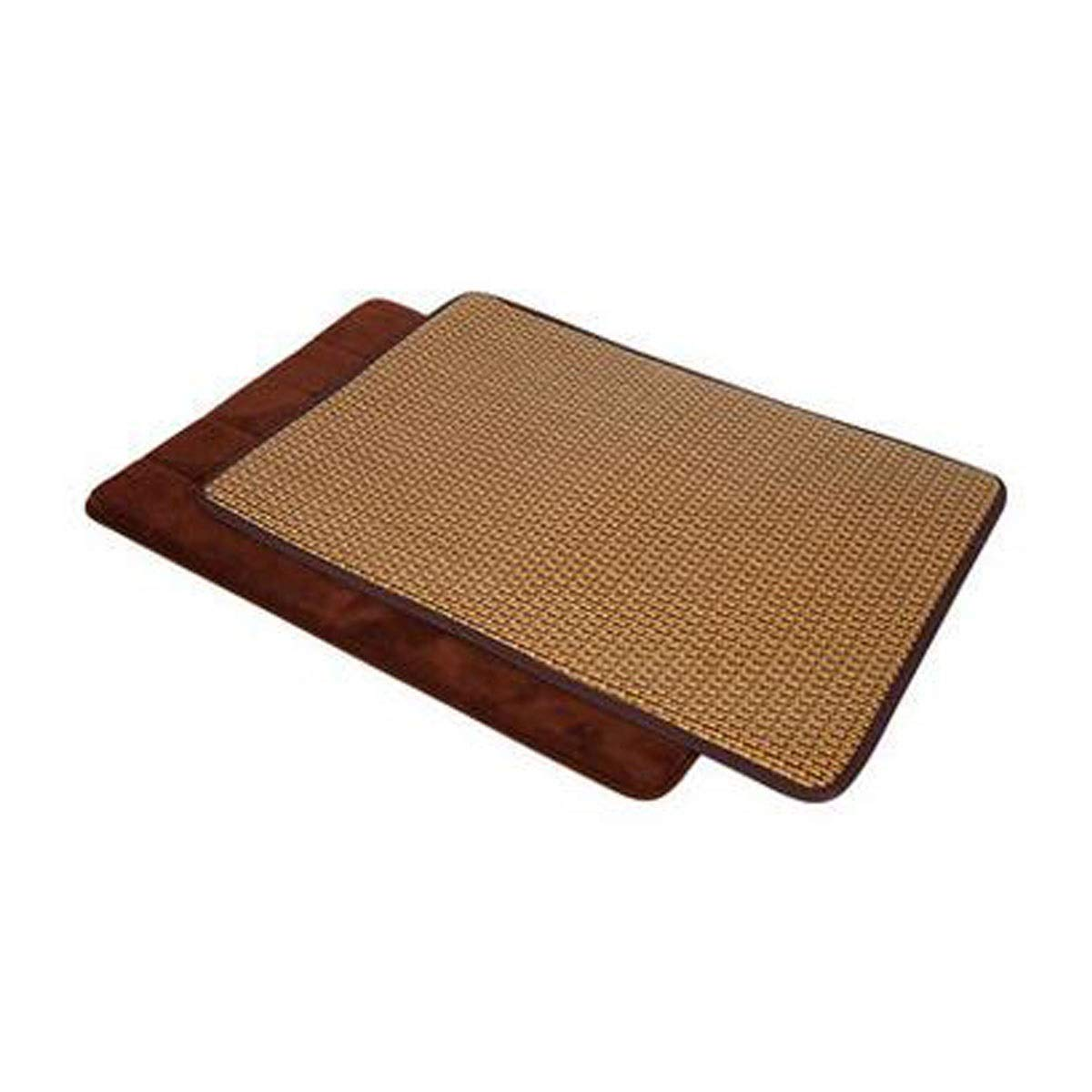 Brown M Brown M Jiansheng Dog Cooling Mattress Dog And Cat Bed Rattan Cooling Pad, Oversized Non-toxic, Non-stick, Skin Friendly, Keeps Pets Cool And Cushioned, Set (mat + Cool Pad XL) (color   Brown, Size   M)