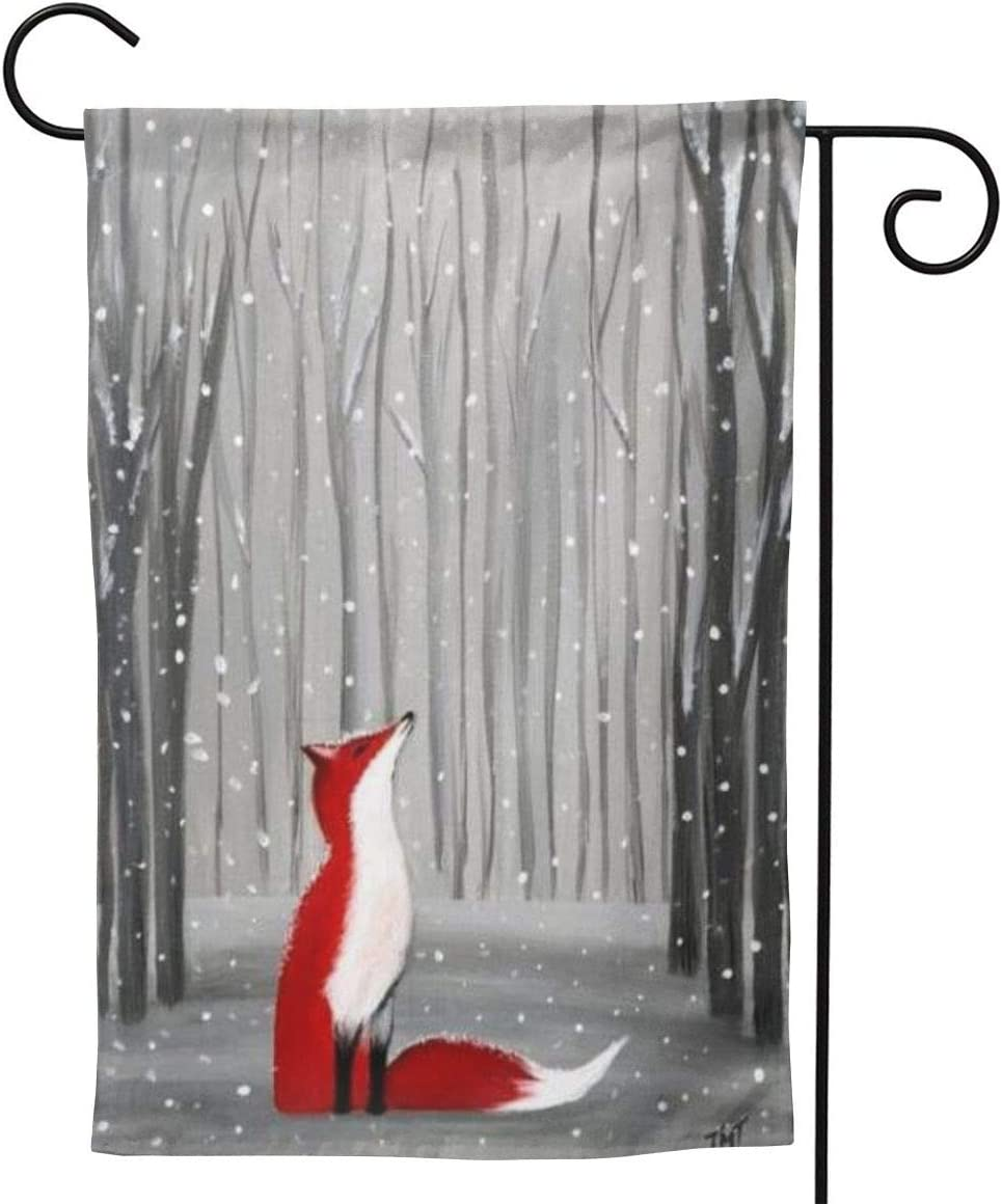 Delerain Red Fox Winter Forest Garden Flag, 28 x 40 Inch Double Sided Design Weather Resistant Indoor & Outdoor Decoration Small Banner for Home Yard Lawn Patio Office