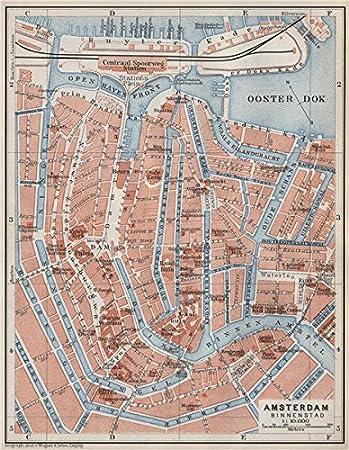 AMSTERDAM BINNENSTAD inner town centre//city stadsplan Netherlands 1910 map