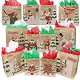 PeeNoke Joiedomi 24 Christmas Kraft Gift Bags with Assorted Christmas Prints for Kraft Bags, Christmas Goody Bags, Xmas Gift Bags, School Classrooms and Party Favors