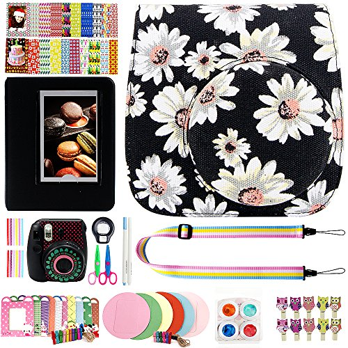 Elvam 12 in 1 Camera Accessory Bundles Set for Fujifilm Instax Mini 8 – Black Flower (Mini 8 Case/Camera Strap/Album/Film Frames/Stickers/Border Stickers/Lens/Filter/Owl Clip/Pens/Scissors)