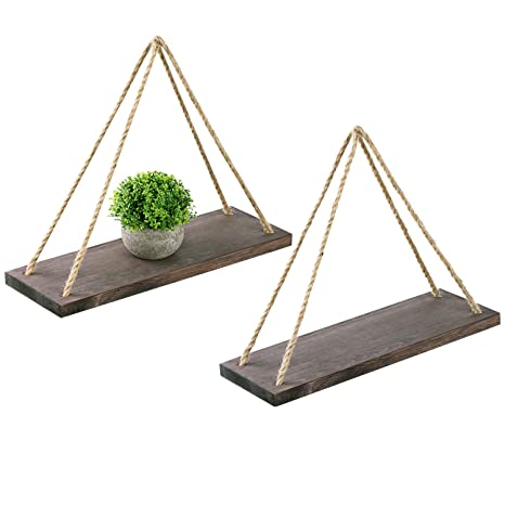 Oyeye Distressed Wood Hanging Swing Rope Floating Shelves With 4 Stainless Steel Hooks, Set Of 2, Brown by Oyeye
