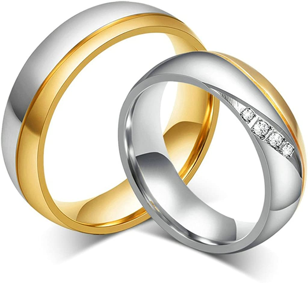 18K Gold Plated Wedding Engagement Band Couple Ring for Men Size 9 Epinki Stainless Steel Ring