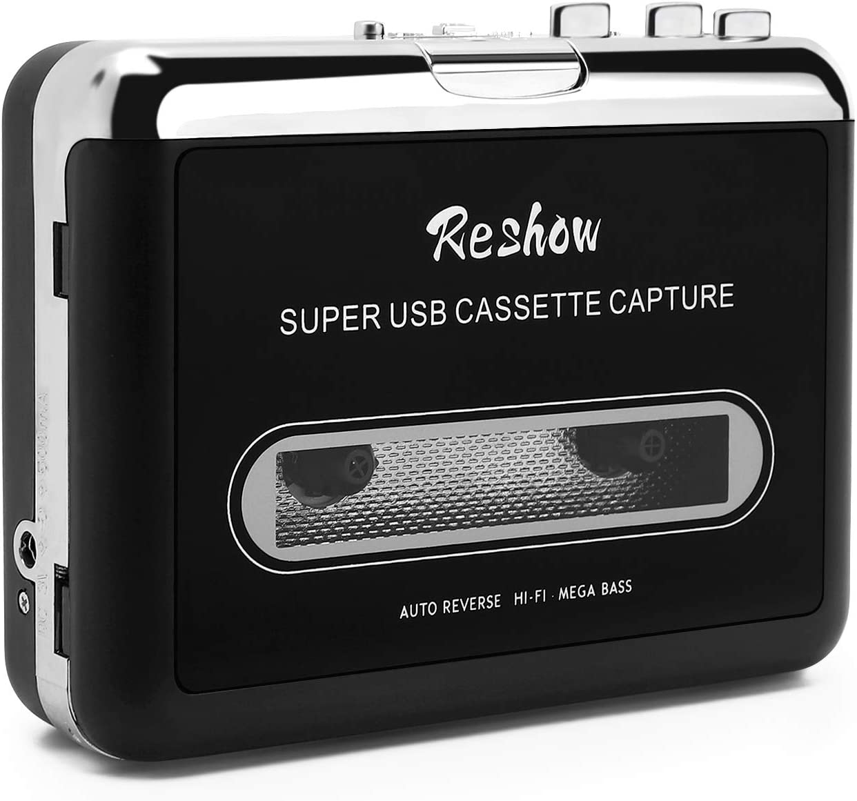 Reshow Cassette Player – Portable Tape Player Captures MP3 Audio Music via USB – Compatible with Laptops and Personal Computers – Convert Walkman Tape Cassettes to iPod Format (Black)