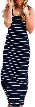 ZANZEA Vestido largo sin mangas de algodón para mujer, con diseño de rayas musculares, sin mangas, elástico, bodycon, sexy, bohemio, informal, elegante, para fiesta, playa, largo, sin mangas, vestido