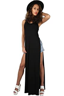 Womens Ladies Short Sleeve High Waist Split Double Side Slit Long Maxi Dress Top