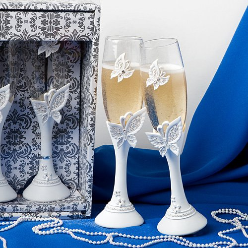 (Butterfly Themed Wedding Toasting Flutes, 2)