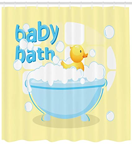 Yellow Rubber Duck Nursery Shower Curtain Extra Long 84Inch Blue White Colorful