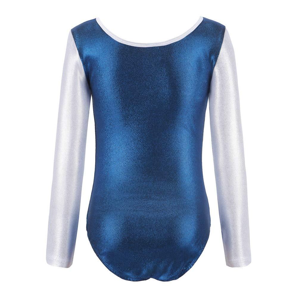 Qlans One Piece Enfants Filles Manches Longues Maillots Dancewear Ballet Gymnastique athl/étique Body 5-12 Ans