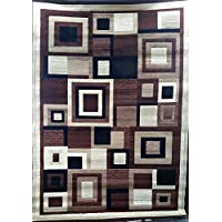 Americana Modern Geometric Area Rug Brown & Black Contemporary Design 125 (4 Feet X 5 Feet 3 Inch)