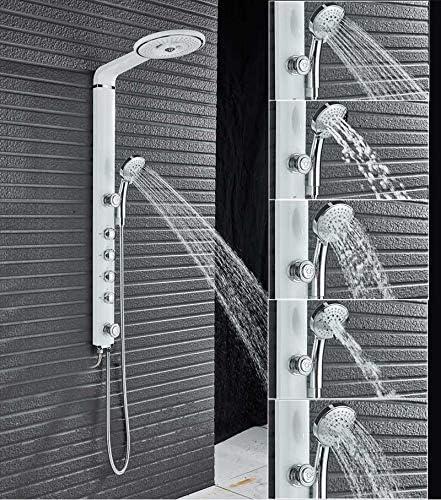 LWSFZAS Columna de ducha negra Juego de grifos de ducha montado en ...