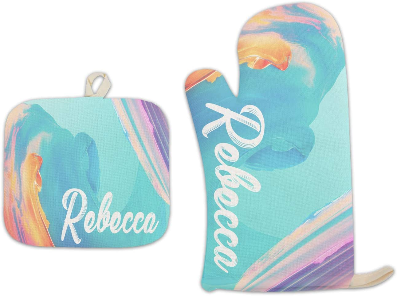 Bleu Reign BRGiftShop Personalized Custom Name Splattered Bright Colors Watercolor Paint Wave Linen Oven Mitt and Potholder Set