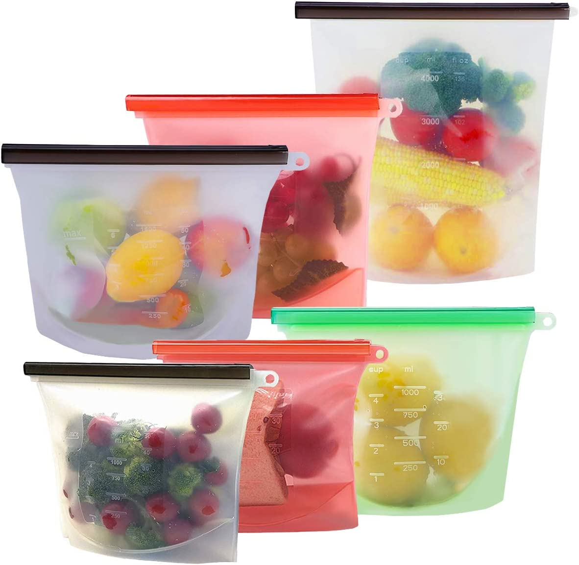 Reusable Silicone Food Storage Bags, KITHELP food storage containers with 1 extra large (4L/ 135z/ 16 cups),2 large (1.5L/ 50oz/ 6 cups) and 3 Medium (1L/ 30oz/ 4 cups)