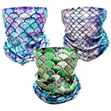 PAMASE 3 Pcs Mermaid Tail Face Mask, Seamless