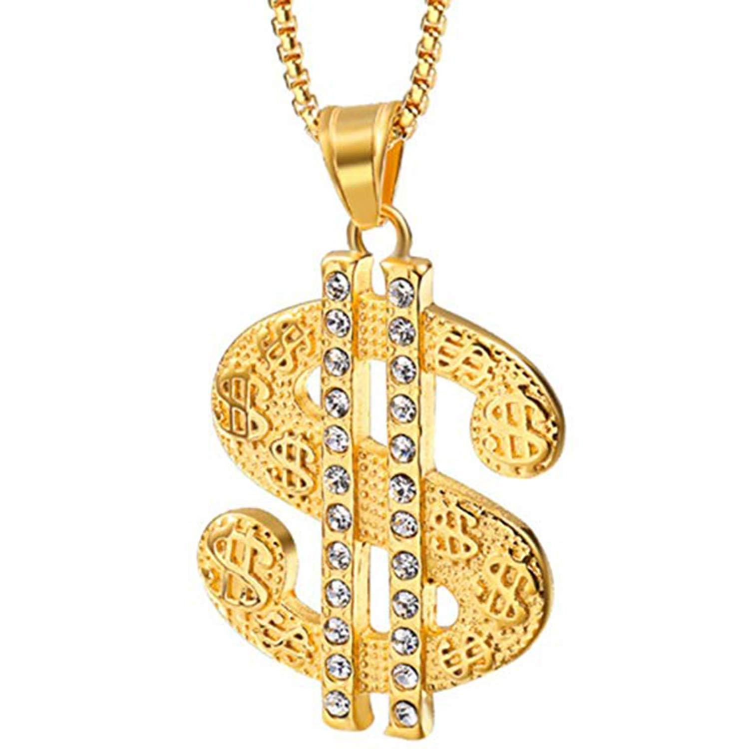 New Dollar Charm Fashion Pendant with 18 Chain for Unisex 14K Yellow Gold Fn Simulated Diamond Studded