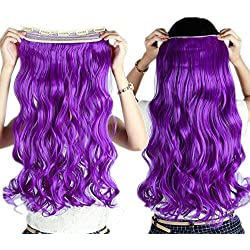 """S-noilite Trendy 24""""/26"""" Straight Curly 3/4 Full Head One Piece 5clips Clip in Hair Extensions Long Poplar Style for Xmas Gifts 22colors(24""""-curly,dark Purple)"""