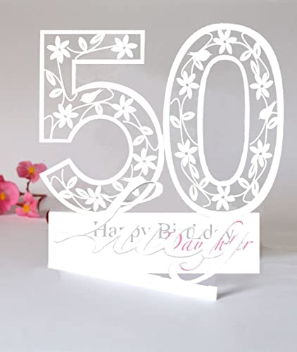 Large Personalised 3D Paper Cut 50th Birthday Card For A DaughterGranddaughterNieceGoddaughter Or Special Friend Amazoncouk Handmade