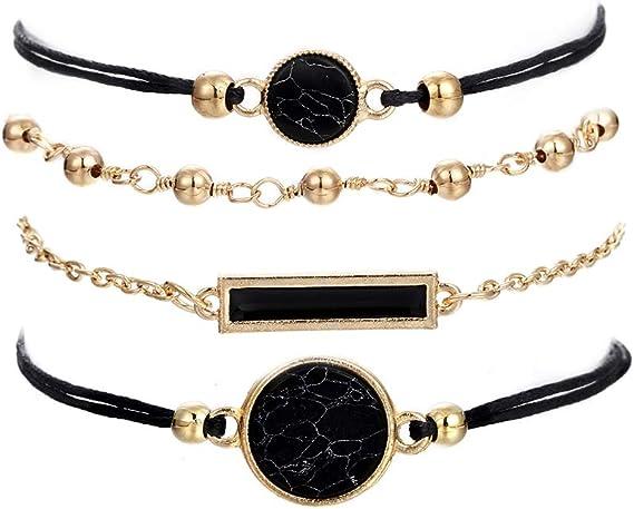 Layer Bracelets for Women Black Onyx Bracelet Gift Multi Strand Beaded Bracelet Dainty Charm Jewelry Gold Coin Bracelet