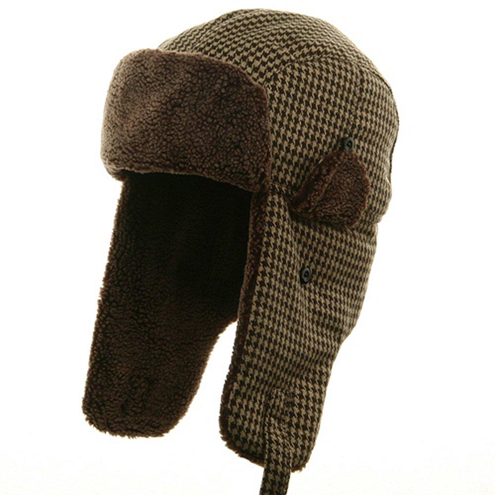 Big Size Tweed Sherpa Lining Trooper Hat-Brown XL